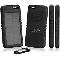 Kyocera Duraforce Battery, BoxWave [Solar Rejuva PowerPack (5000mAh)] Solar Powered Backup Power Bank for Kyocera Duraforce - Jet Black