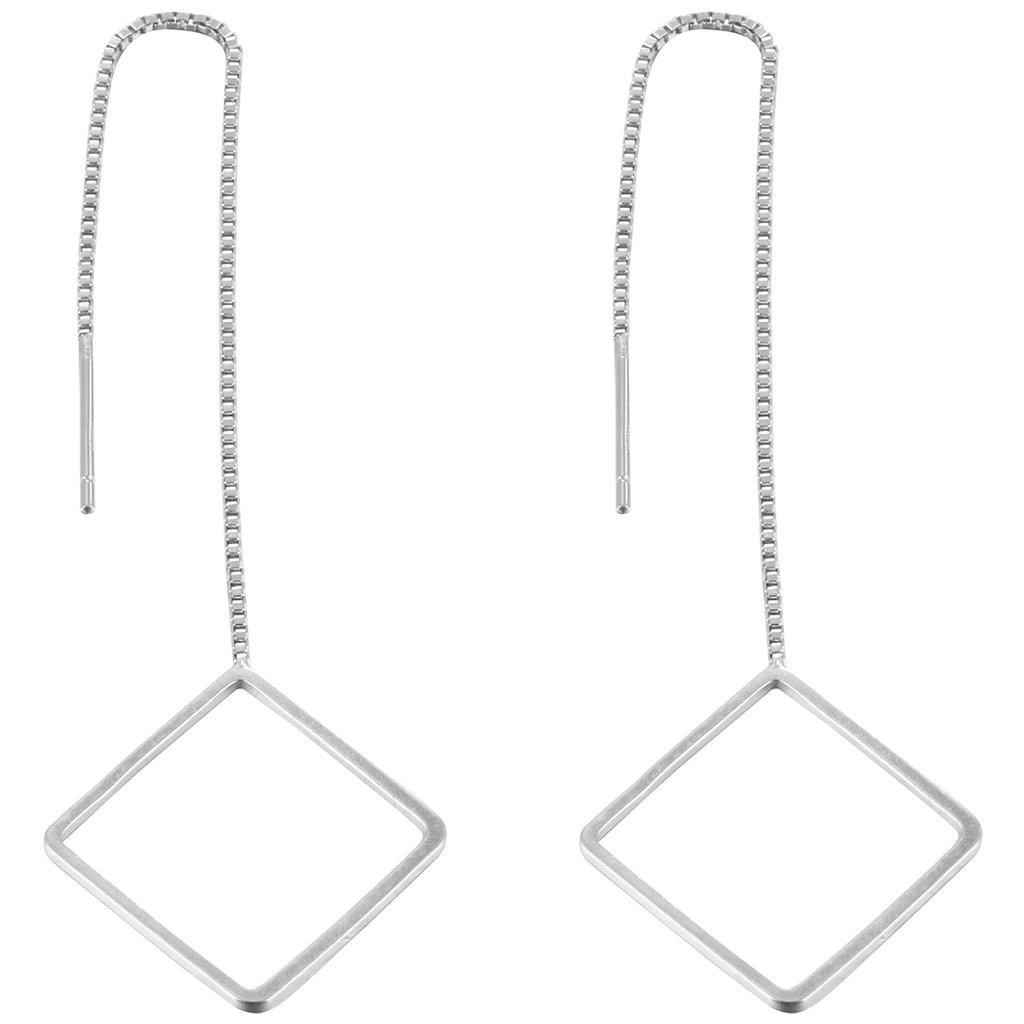 Trendy 925 Sterling Silver Geometric Love Heart Triangle Square Star Dangle Earrings Women Girls Qiandi XCC9250051-1