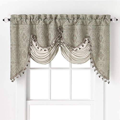 GoodGram Ultra Elegant Clipped Jacquard Georgette Fringed Window Valance With an Attached Sheer Swag by Assorted Colors (Sage)