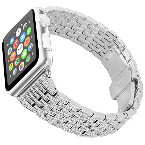 Tomazon Compatible Apple Watch Band 42mm, Stylish Crystal Rhinestone Diamond Stainless Steel Link iWatch Bracelet Strap with Folding Buckle for Apple Watch Series 3 Series 2 Series 1 - Silver ()