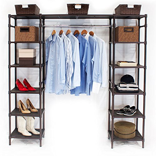 14'' Elegant Look Sturdy Steel Wire and Plated with a Bronze Epoxy Finish Adjustable Eight Shelves with Two Cantilever Shelves Fully Customizable Deep Expandable Storage Closet Organizer for Wardrobe by Coldeco (Image #2)