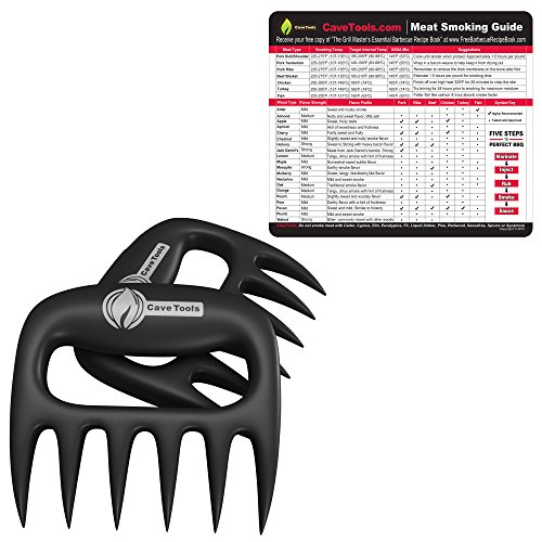 Wood Smoking Chart + Pulled Pork Shredder Claws - BEST BBQ MEAT FORKS - Shredding Handling & Carving Any Size Food - Claw Handler Set for Pulling Brisket Barbecue Grill Smoker or Slow Cooker (For Prime Smoking Best Wood Rib)