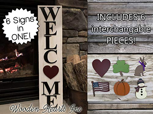 WELCOME SIGN for Front Porch Magnetic + 6 INTERCHANGEABLE SEASON CHANGER PIECES *Vertical *Heart, Bunny, Flag, Pumpkin, Snowman, Shamrock INCLUDED! Christmas Easter Thanksgiving *Outside *7 X 31.5
