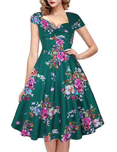 OTEN Women's Polka Dot Sugar Skull Vintage Swing Retro Rockabilly Cocktail Party Dress Cap Sleeve]()