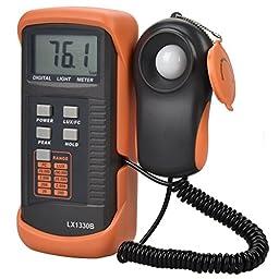 MoonCity Digital Light/Illuminance Meter LX1330B ,0.1 - 200000 Lux Luxmeter Tester LCD Display Precise (Black + Orange)