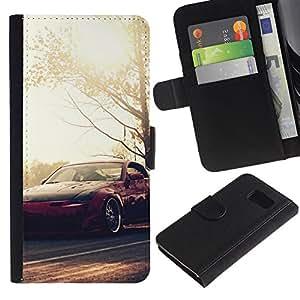 LECELL--Cuero de la tarjeta la carpeta del tirón Smartphone Slots Protección Holder For Samsung Galaxy S6 -- N1ssan 350z Fairlady --
