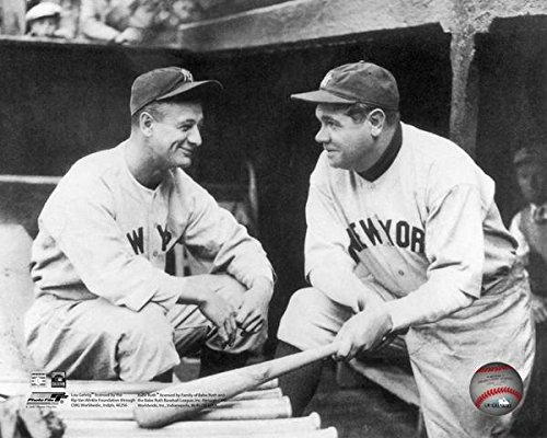 Lou Gehrig Memorabilia - New York Yankees Lou Gehrig & Babe Ruth in the 1930's. 8x10 Photograph Picture Sharing a laugh