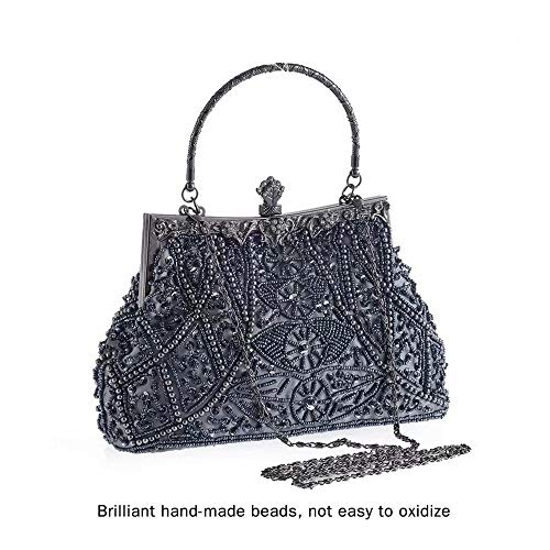 YEEBOM Evening Bags and Clutch for Women-Beaded Sequin Design Flower Purse Shoulder Handbag Prom Bag for Party Weeding