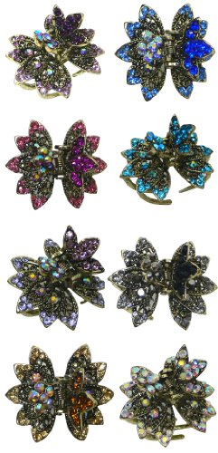 (8-Pack - 8 Small Round Metal Jaw Clips, Decorated with Sparkling Stones LPW86440-3-8)