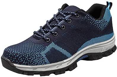 tqgold Zapatillas de Seguridad para Hombre Mujer, Zapatos de Trabajo con Punta de Acero (Azul,35 EU)