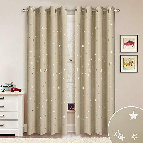 RYB HOME Childrens Curtains Room Darkening Shades Curtains Christmas, Silver Star Curains Privacy Window Covering Drapes for Bedroom, Light Blocking for Living Room, Cream Beige, 52 x 84, 2 Panels from RYB HOME