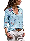 Diukia Women's Floral Print Long Sleeve Button up V Neck Casual Chiffon Tops T Shirts Blouse(S-XXL)