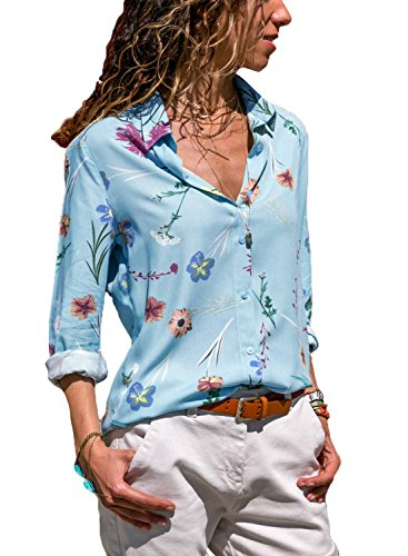 Diukia Women's Floral Print Long Sleeve Button up V Neck Casual Chiffon Tops T Shirts (Three Quarter Length Jacket)