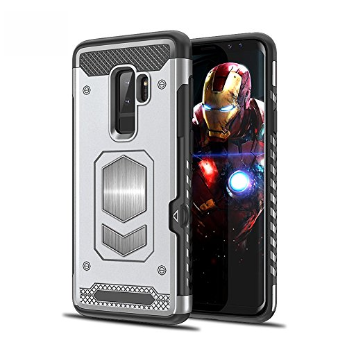 Galaxy S9 Case Galaxy S9 Plus CaseMagnetic Dual Layer Wallet Card Slot Kick-Stand Armor Series Hybrid Case with Card Slot Slide&Magnetic car Mount (Galaxy S9, Silver)