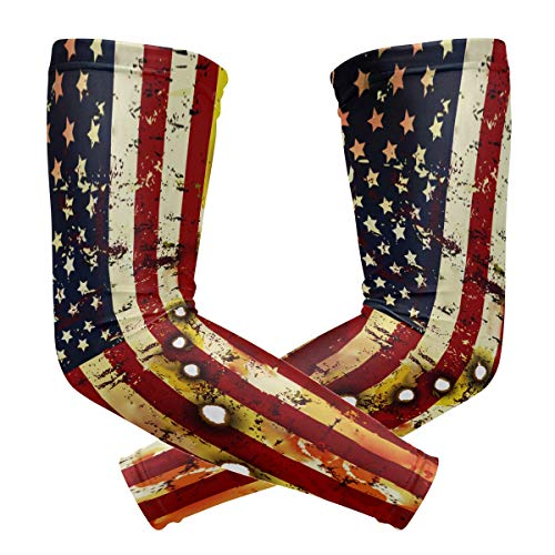 Y-RED-AA Patriotic American Flag Bullet Holes Cooling Arm Sleeves Cover Uv Sun Protection for Men Women Running Golf Cycling Arm Warmer Sleeves 1 Pair