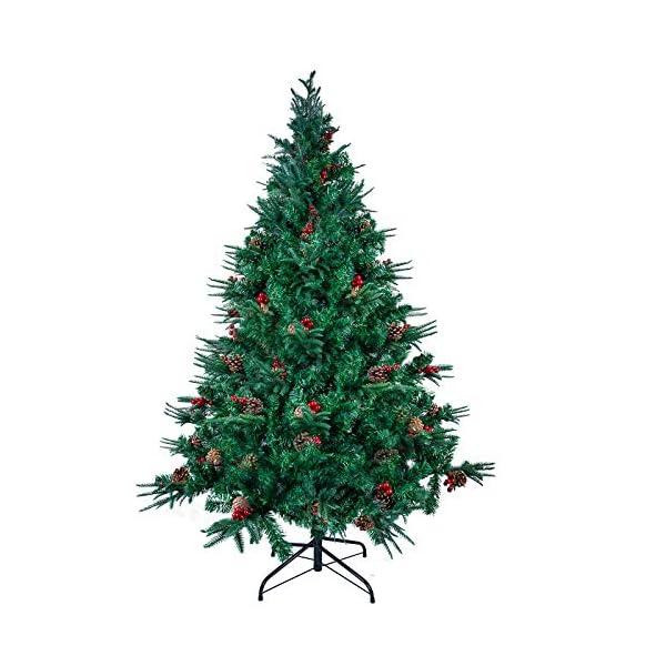 Kranich 1,5 m Albero di Natale da con pigne e Bacche Rosse, Montaggio rapido incl. Supporto per Albero di Natale, Decorazioni Natalizie 1 spesavip