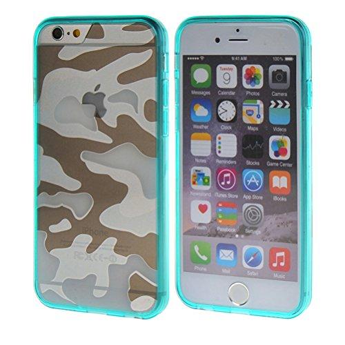 MOONCASE iPhone 6 Case Camouflage Series TPU Silikon Tasche Case Cover Schutzhülle Etui Hülle Schale für Apple iPhone 6 4.7'' azurblau