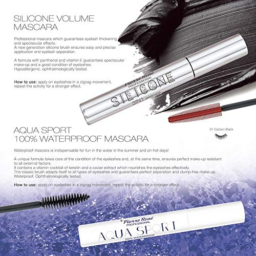 e9bbc7f7519 Amazon.com : Pierre Rene Professional Silicone Extreme Volume Mascara, with  Panthenol, Licorice Root, Acacia and Vitamin cocktail : Beauty