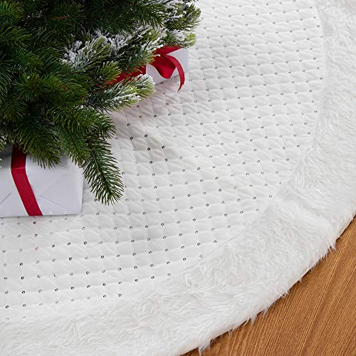 S-DEAL Soft Velvet Christmas Tree Skirt with Sequin 48 Inches White Faux Fur Plush Trim Border Decoration for Home Office
