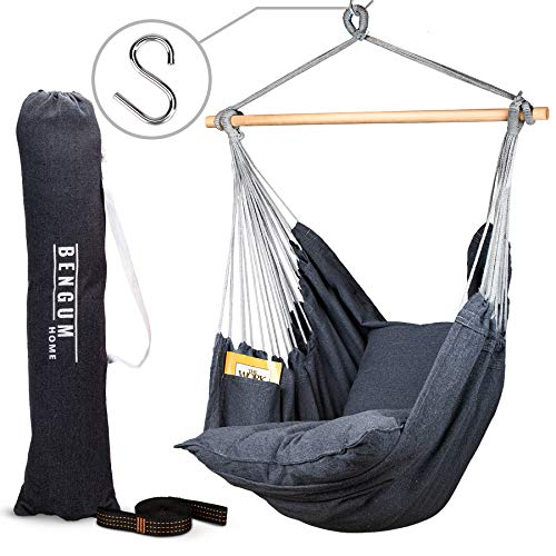 Bengum Hammock Chair Hanging Swing | Indoor and Outdoor Use | Large Swinging Seat Chair for Patio, Bedroom, or Tree | 2-Tone Grey Durable Hammock + 2 Cushions + Side Pocket + Rope + Carrying Bag + S""