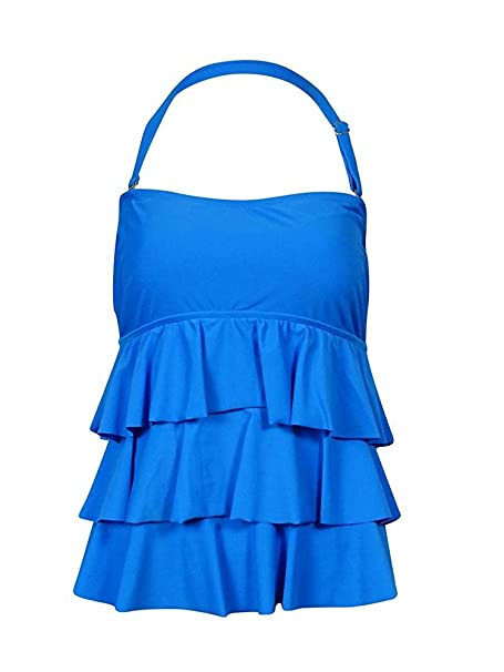 d2d0c011d11bd Island Escape Women's Bandeau Tiered Ruffle Tankini Top at Amazon Women's  Clothing store: