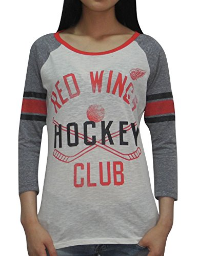 Detroit Red Wings Glitter - Detroit Red Wings NHL Womens Hockey 3/4 Sleeve Glitter T-Shirt L Multicolor