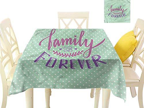 WilliamsDecor Square Tablecloth Family,Polka Dots Family Quote Outdoor Picnics W 54