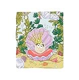 VROSELV Custom Blanket Pearls Decoration Cute Princess Pearl in Clam with Crown Tiara Reef Cartoon Print Baby Girl Nursery Bedroom Living Room Dorm Multi