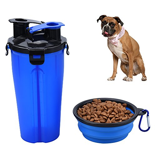 Petacc Dual-Chamber Pet Drinking Snack Bottle Pet Outdoor Dispenser Water Cup Portable Pet Dual Chambered Hydration Bottle with Collapsible Bowl, Suitable for Outdoor Use by Petacc