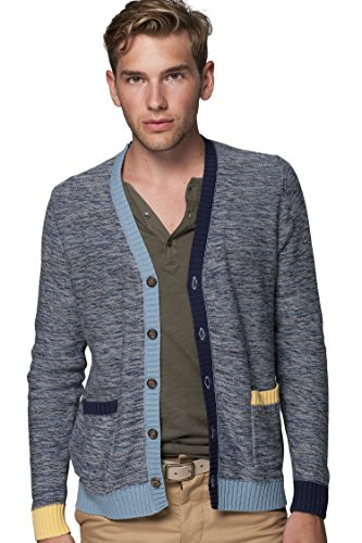 REVOLUTION NOW Men's Knitted Marled Contrast Rib Trim Cardigan Sweater