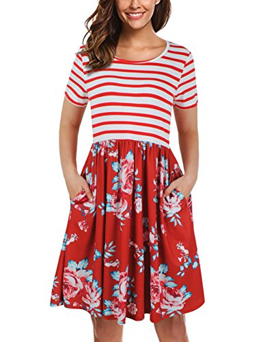 UXELY O-Neck Dress for Women,Vintage Pleated Cocktail Party Dress,Red,XXL