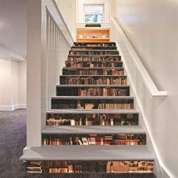 FLFK 3D Bookcase Stair Riser Stickers Simulation Bookshelf Wall Stair Stickers Mural Wallpaper Removable Decals for Home Decor 39.3