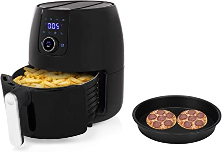 Freidora de aire caliente digital XXL con sartén para pizza de 4,5 litros, con pantalla digital – freír sin aceite: Amazon.es: Hogar
