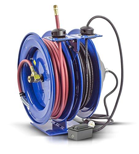 Reel Spring Rewind (Coxreels C-L350-5012-F Dual Purpose Electric/Air Spring Rewind Reels: 50' 3/8