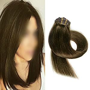 BETTY Clip In Human Hair Extensions 15 18 20 22 Inch 7pcs 70g Set Silky Straight Human Remy Hair Omber Color (20inch, #4)