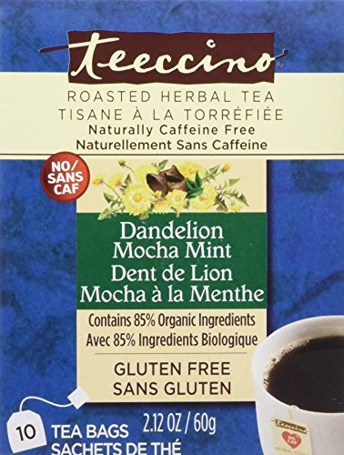 Teeccino Dandelion Mocha Mint Herbal Tea Bags, 85% Organic, Gluten Free, Caffeine Free, Acid Free, 10 Count (Mocha Mint)