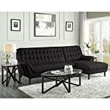 A Line Furniture Retro Mid-Century Modern Style Black Living Room Sesctional Sofa 1 Sectional, 1 Coffee Table, 2 End Tables