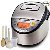 Tiger Corporation JKT-S18U-K IH (10 Cups Uncooked/20 Cups Cooked) Rice Cooker with Slow Cooker and Bread Maker, Stainless Steel, Black