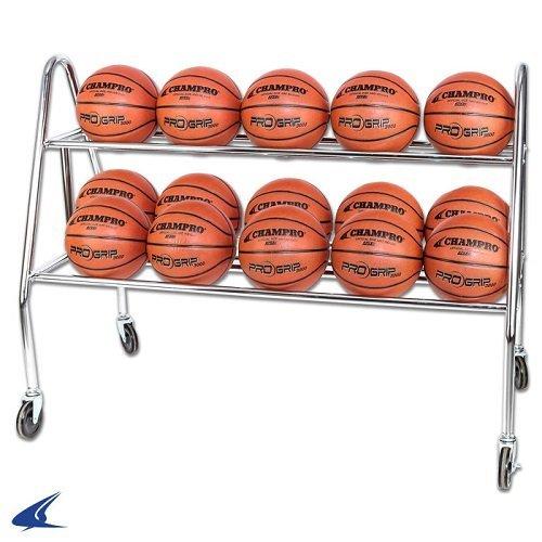 CHAMPRO Sports Prism 15 Ball Rack W/Casters Silver, 47 L x 20 W x 25 H BR14