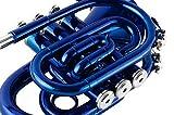 EastRock Pocket Trumpet Blue Lacquer Brass Bb