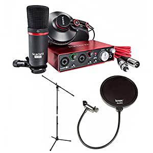 Focusrite Scarlett 2i2 Studio USB Audio Interface and Recording Bundle Includes Knox Pop Filter