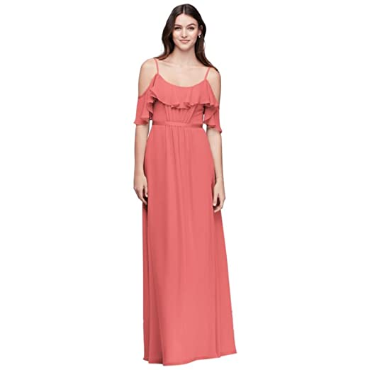 Davids Bridal Crinkle Chiffon Cold Shoulder Bridesmaid Dress Style