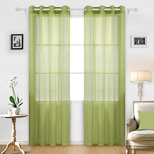 Deconovo Decorative Sheer Voile Curtains Grommet Gauze Tulle For Office 52W X 95L Inch Yellow Green 2 Drapes