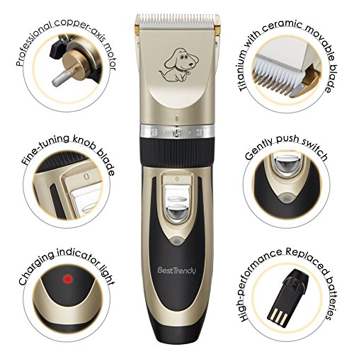 BestTrendy-Dog-ClipperLow-Noise-Rechargeable-Cordless-Pet-Dogs-and-Cats-Electric-Clippers-Grooming-Trimming-Kit-Tool-Set-GoldBlack
