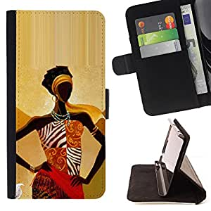 Black Queen Gold Goddess Woman Lady - Painting Art Smile Face Style Design PU Leather Flip Stand Case Cover FOR Samsung ALPHA G850 @ The Smurfs