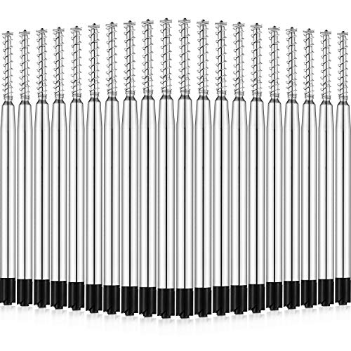 Chuangdi 20 Pack Replaceable Ballpoint Pen Refills with Spring Metal Ball Point Refills Smooth Writing Pen Refills, Medium Point (Black)