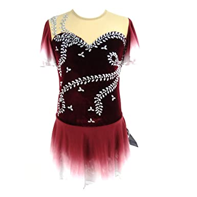 4803fc23fe284 LIUHUO Ice Figure Skating Dress for Girls Short-Sleeved Beaded Wine ...