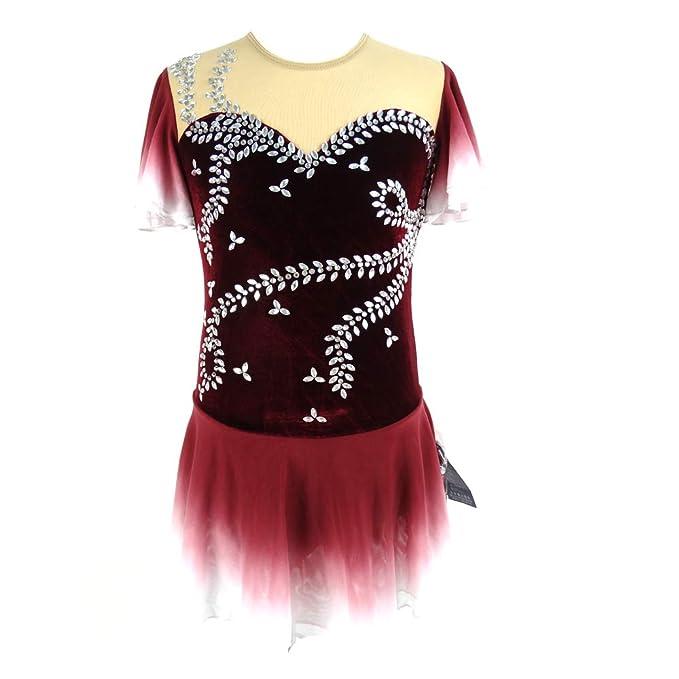 Amazon.com: Ice - Vestido de patinaje para niñas (manga ...