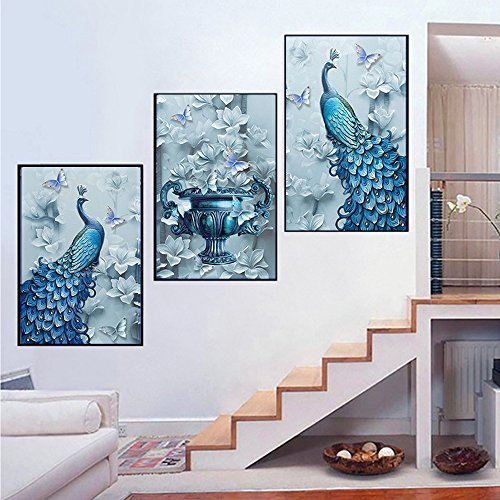 5D Diamond Painting kit full drill diy crafts paint with diamonds set mosaic Art Pictures 3d round crystal peacock flowers butterflies counted Embroidery wall sticker for Home Décor 50 1/5 '' x 23 3/5 by changkai