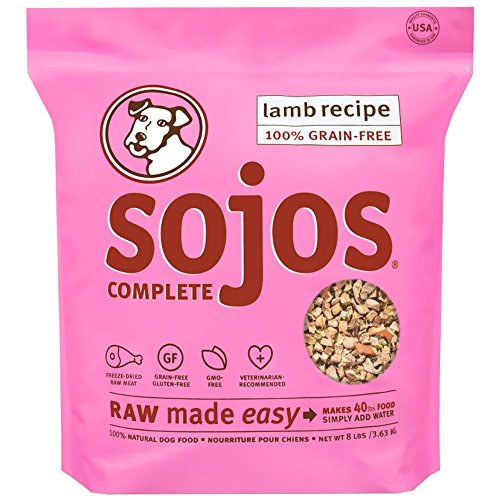 Sojos Complete Natural Grain-Free Dry Raw Freeze Dried Dog Food Mix, Lamb, 8-Pound Bag